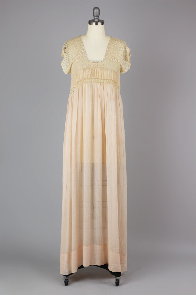 Rare 1920s French Grecian Style Crinkle Gauze Silk and Filet Lace Nightgown