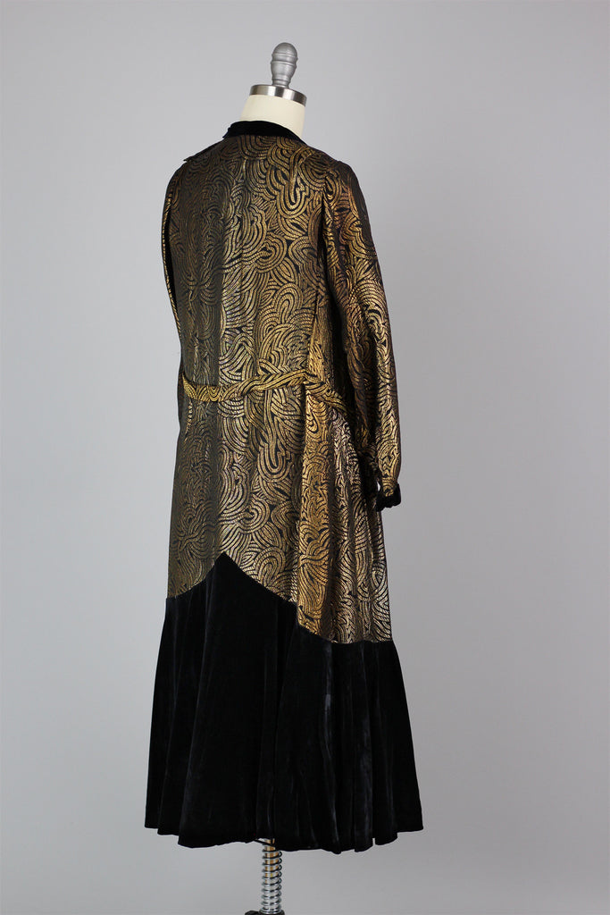 Rare 1920s Gold Lamé and Silk Velvet Dinner Dress