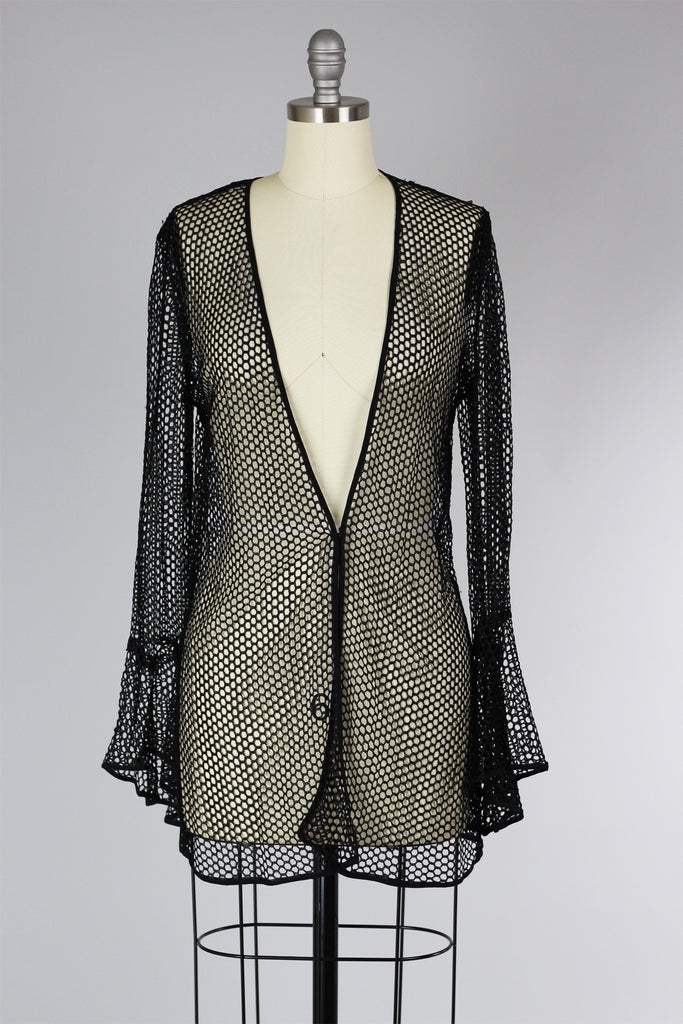 1920s Black Fishnet Jacket with Bell Sleeves