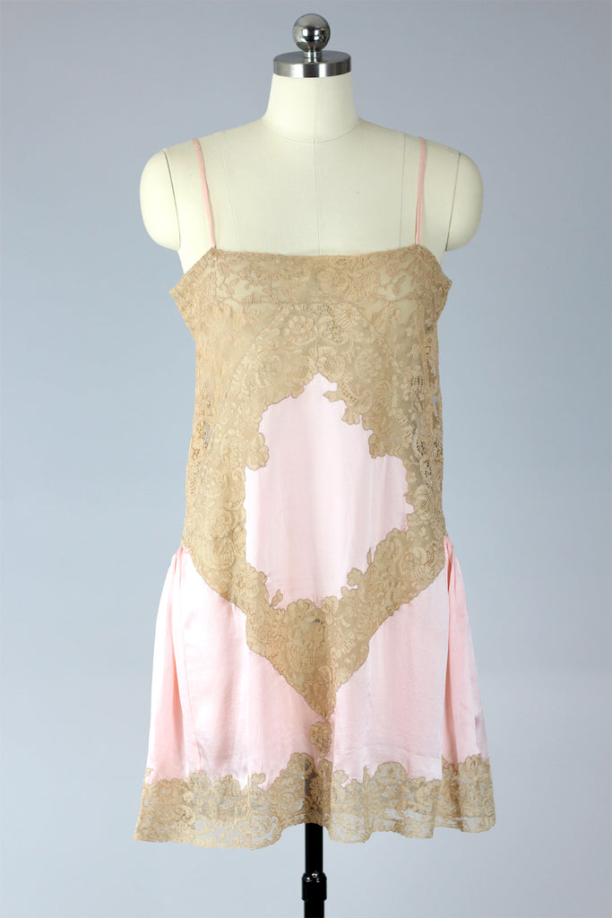 1920s Blush Pink Charmeuse French Chemise