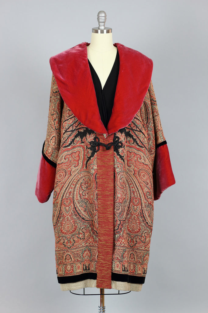 Couture 1920s Poiret Inspired Cocoon Coat in Silk Velvet & Russian Tapestry