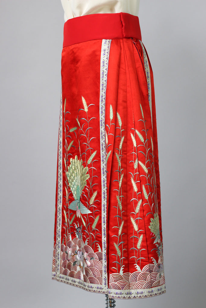 1920s Red Satin Embroidered Korean Skirt