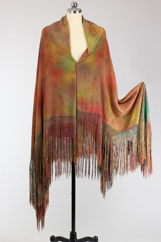 1920s Tie-Dyed Antique Chinese Silk Shawl Wearable Art