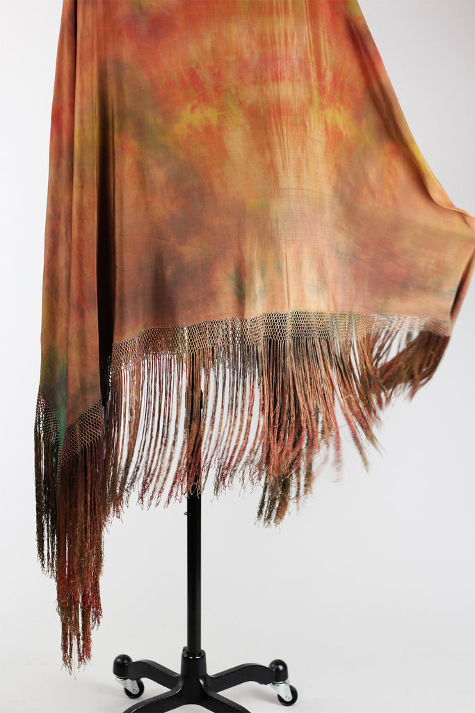 1920s Tie Dye Antique Chinese Silk Shawl