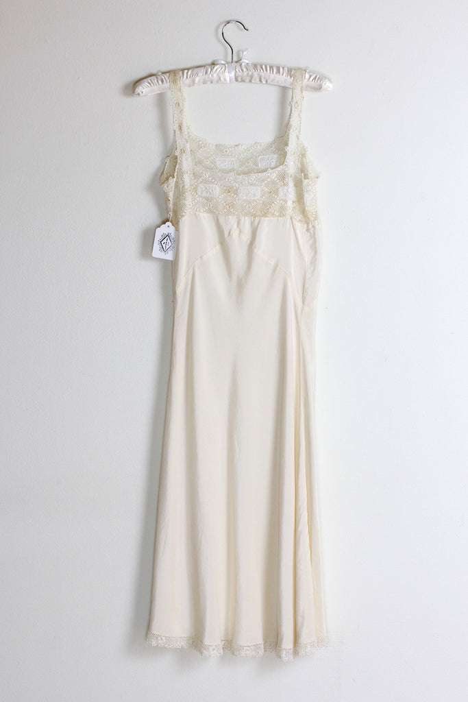 Marguerite 1930s Silk Slip with Handmade Crochet Lace