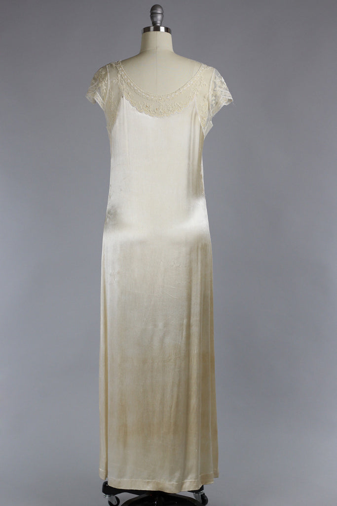 Venetian Lace 1920s Oyster Silk Duchess Charmeuse Gown