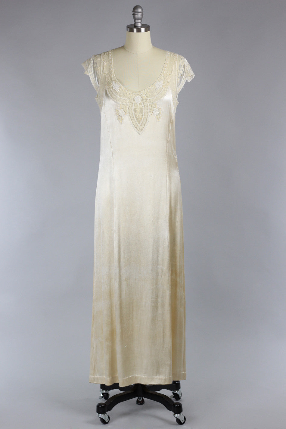 e557622ae1d54 Venetian Lace 1920s Oyster Silk Duchess Charmeuse Gown – The Vintage Net