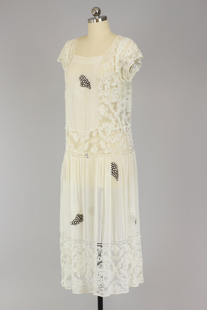 1920s Cotton Tea Dress with Unusual Style of Filet Lace