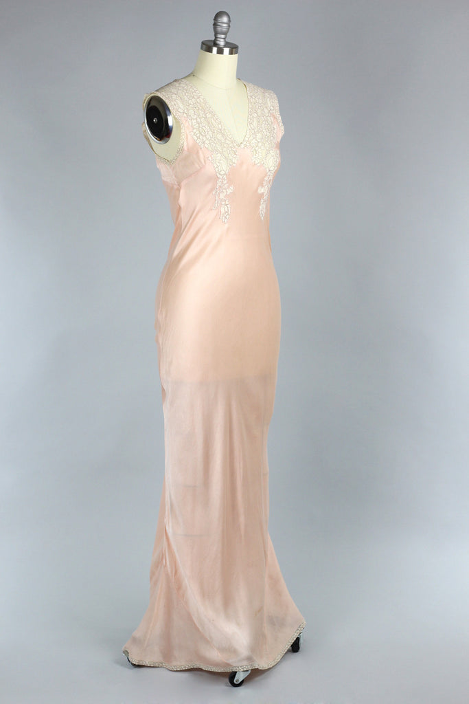 Perle D'Or 1930s Silk Charmeuse Gown with French Lace