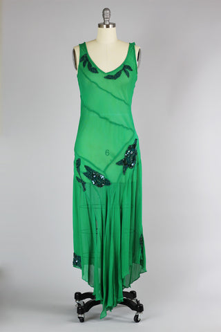 Stunning 1930s Bias Cut Silk Chiffon Green Deco Evening Gown