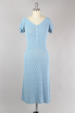1930s Crochet Knit Dress in Light Blue with Heart Buttons