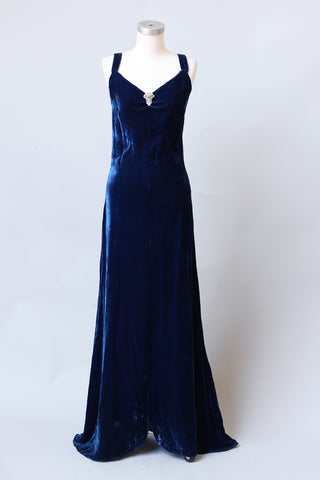 Stunning 1930s Sapphire Blue Silk Velvet Gown with Dress Clip