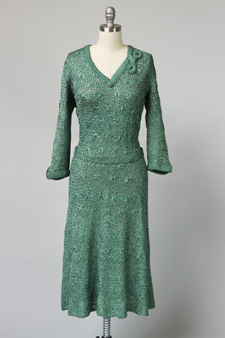 Fantastic 1930s Celadon Green Silk Ribbon Knit Dress