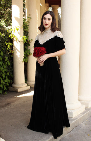 Rare 1930s Long Black Velvet Gown with French Lace XL
