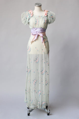 1930s Pastel Blue Debutante Dress ~ As Is
