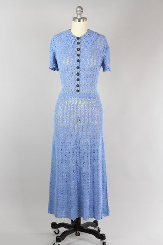 1930s Hand Crochet Dress in Powder Blue S/M