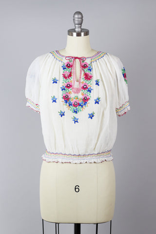 1930s Hungarian Bohemian Hand Embroidered Blouse