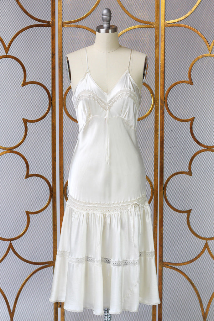 Rare 1930s Liquid Silk Lingerie Slip Dress