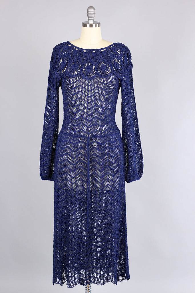 Vintage 1930s Navy Rayon Knit Dress