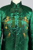 Rare 1940s 50s Vintage Emerald Green Quilted Satin Embroidered Asian Jacket