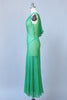1930s Emerald Green Chiffon Bias Cut Gown