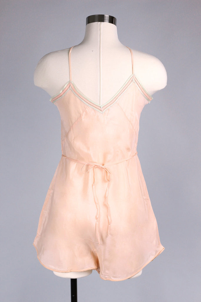 Madeleine 1930s Peach Silk Step In Romper