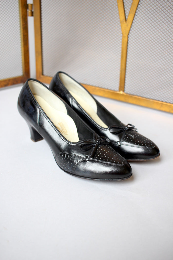 Black 1930s Perforated Heeled Flats with Bow
