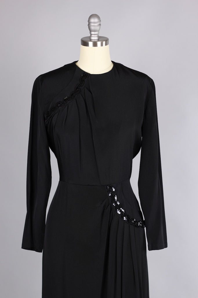 Early 1940s Black Rayon Sequin Cocktail Dress The Vintage Net
