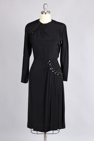 Early 1940s Black Rayon & Sequin Cocktail Dress