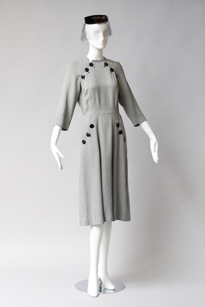 1940s Film Noir Gingham Dress with Button Detail by Claire Tiffany