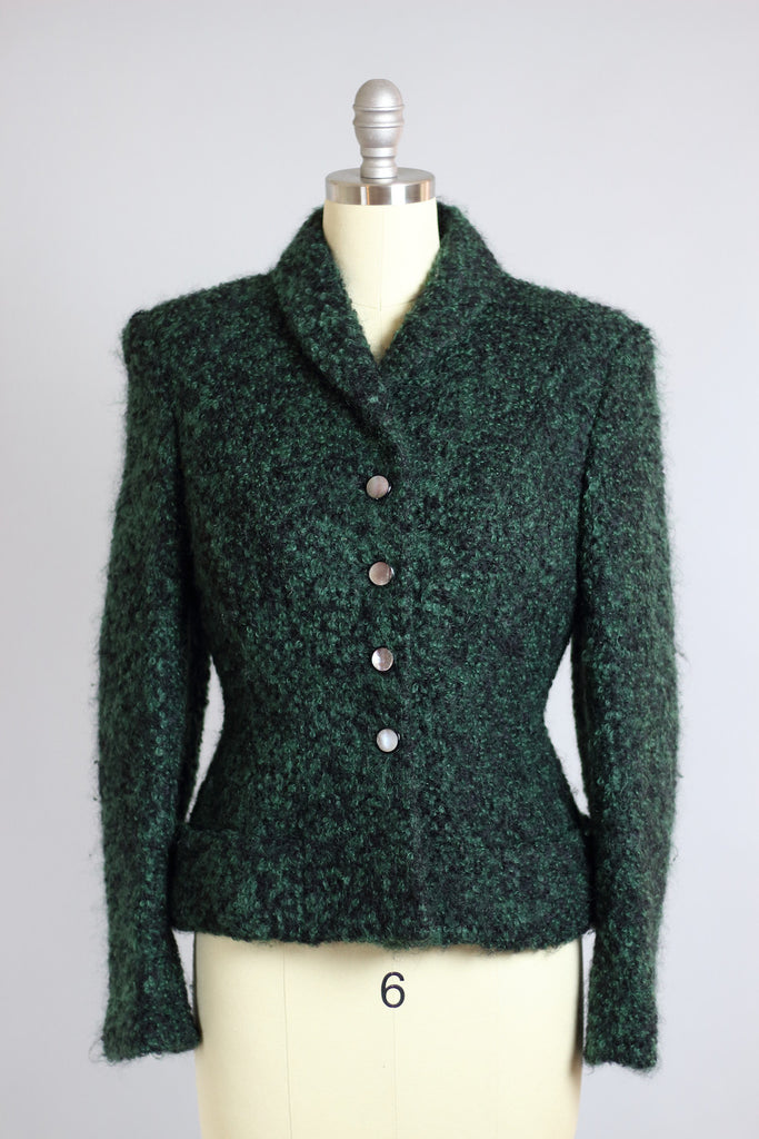 Fabulous 1940s Hunter Green Mohair Jacket