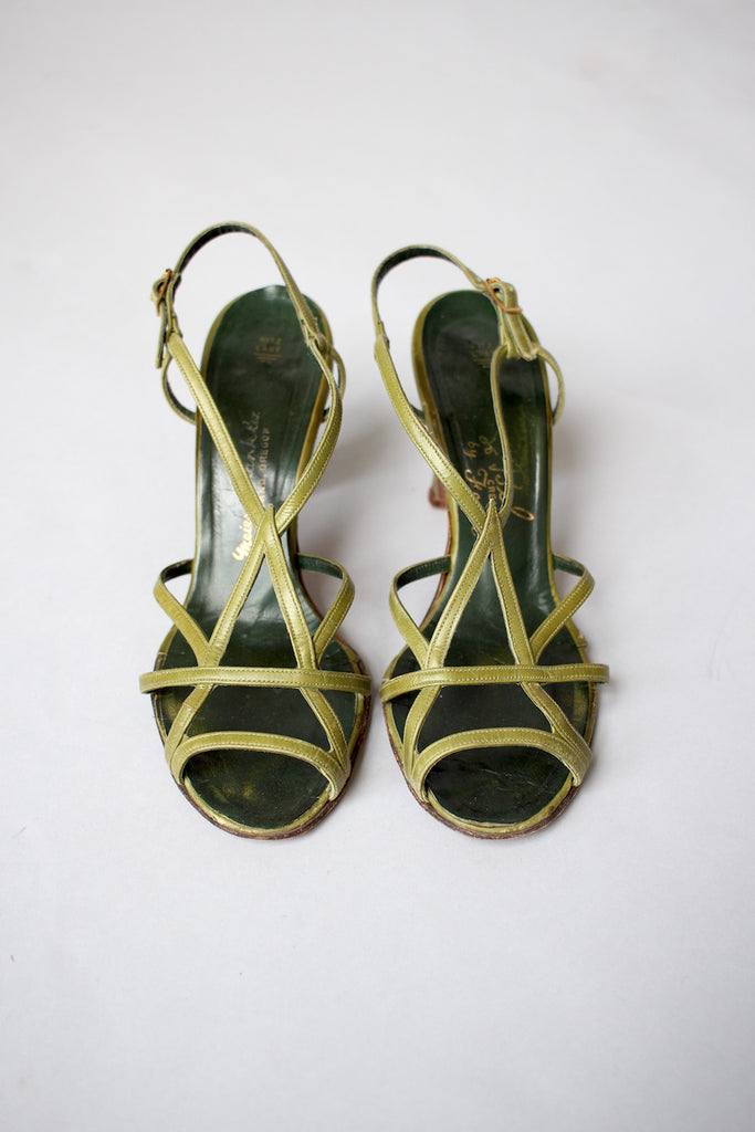 1930s -1940s Olive Green Art Deco Strappy Heels
