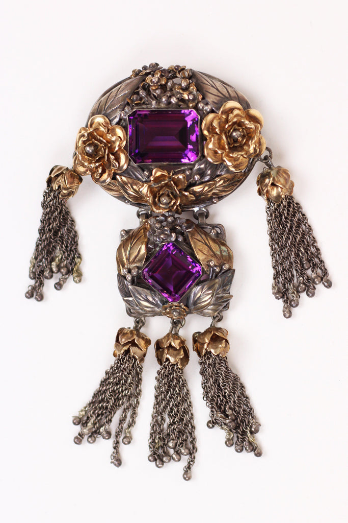 Rare 1940s Hobé 14K Gold and Sterling Amethyst Brooch