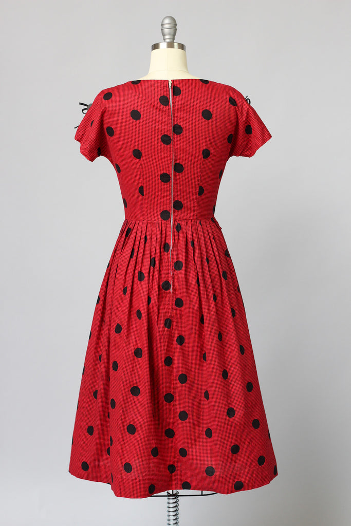 1940s Red and Black Gingham Polka Dot Dress