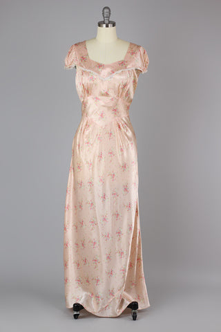 1930s - 1940s Bias Cut Liquid Satin Rayon Night Gown