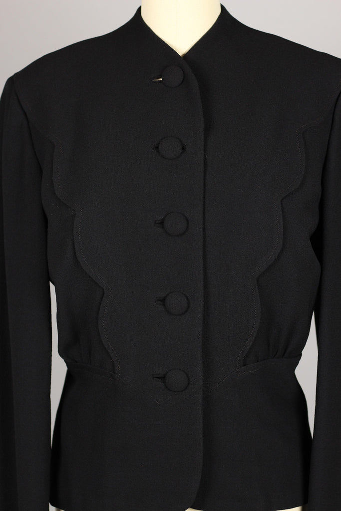 1940s Tailored Jacket with Scalloped Detailing Size M