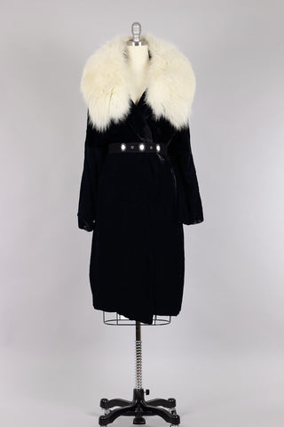 Hattie Carnegie 1940s Silk Velvet and White Mink Fur Cloak