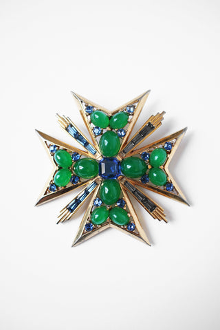 Rare Marcel Boucher Jeweled Brooch Maltese Cross, 1950s-60s Signed