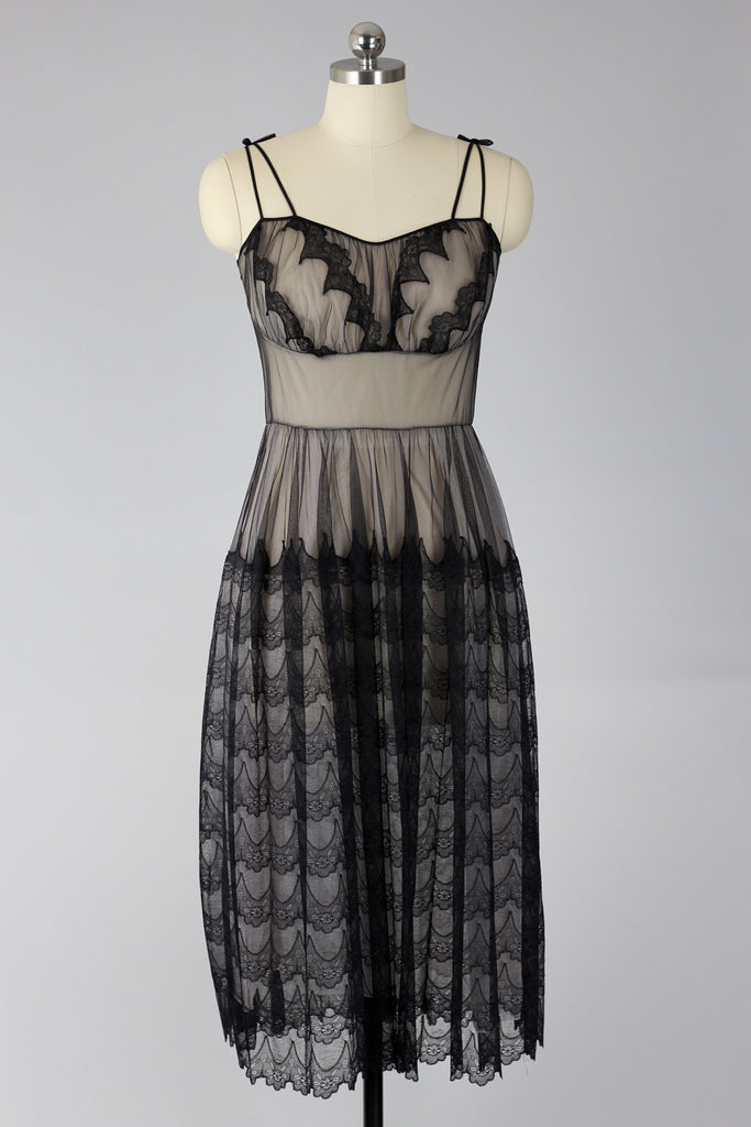 1950s Black Tulle Lace Dress Peignoir