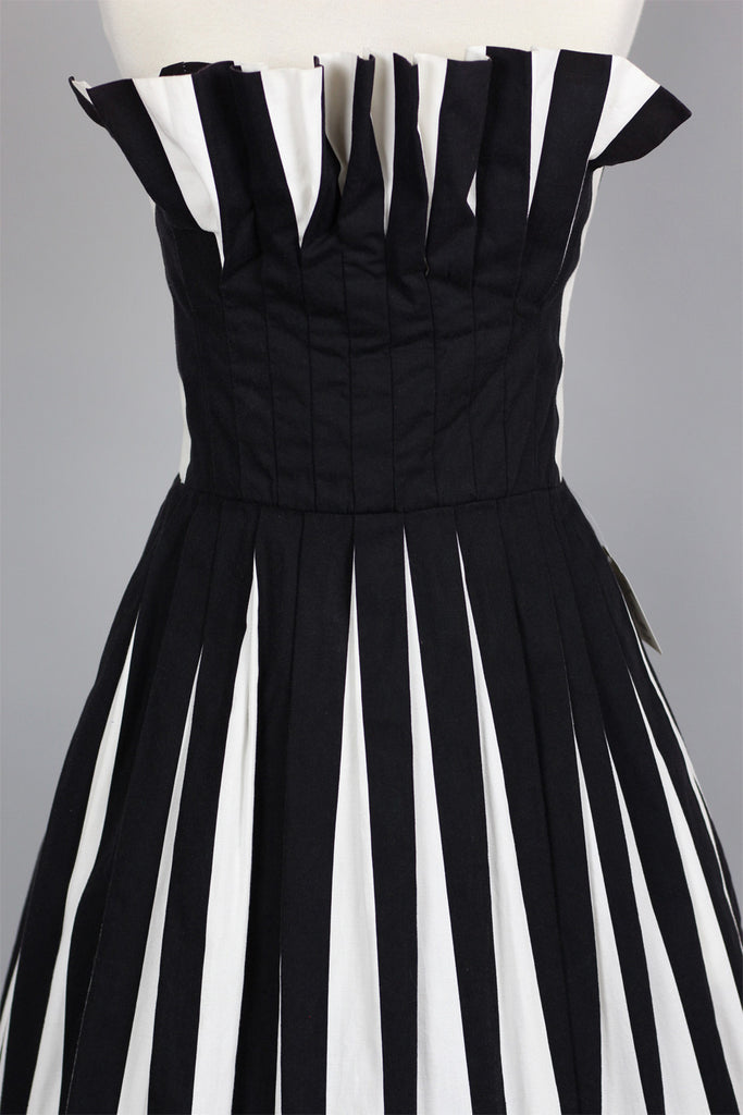 1950s Parisian Chic Black & White Stripe Strapless Dress