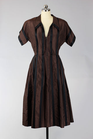 1950s Silk Taffeta Parisian Stripe Dress
