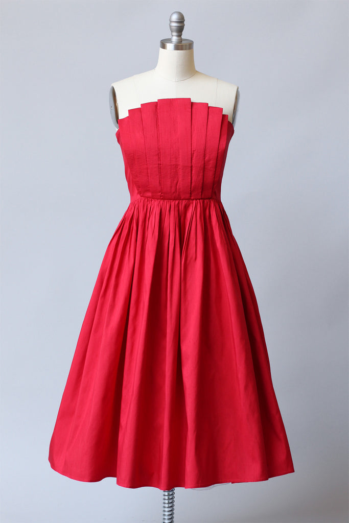 1950s Raw Silk Red Strapless Party Dress