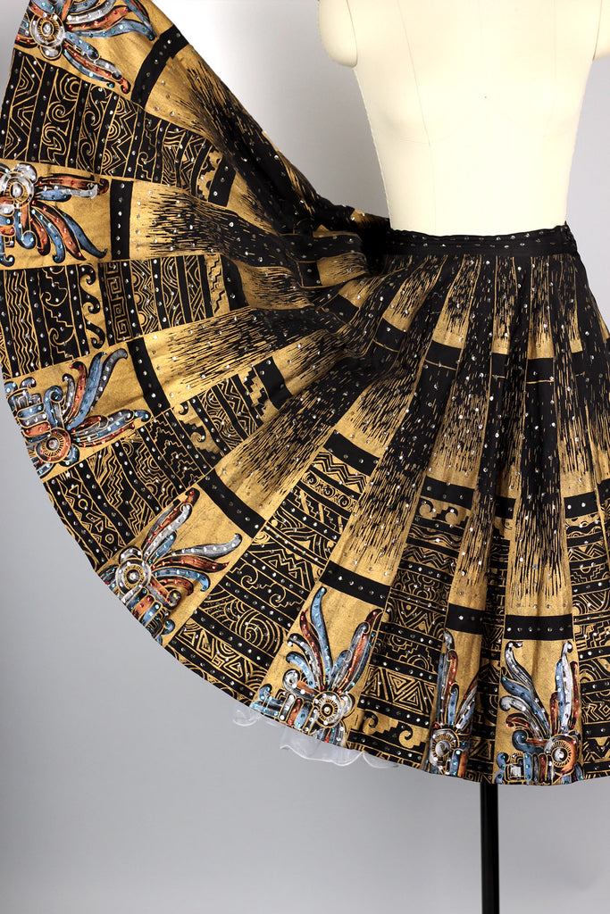 Rare 1940s 50s Hand Painted Metallic Mexican Circle Skirt
