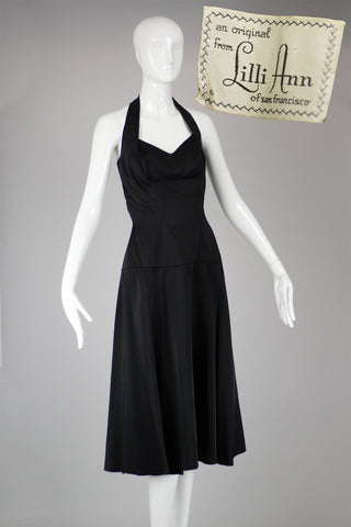 Rare 1950s Lilli Ann Black Satin Halter Dress