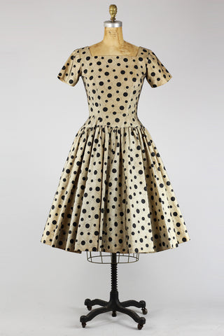Rare 1950s New Look Polka Dot Dress / 1950s Formal Party Dress