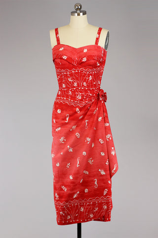 Rare 1950s Red Cotton Hawaiian Sarong Style Tiki Dress