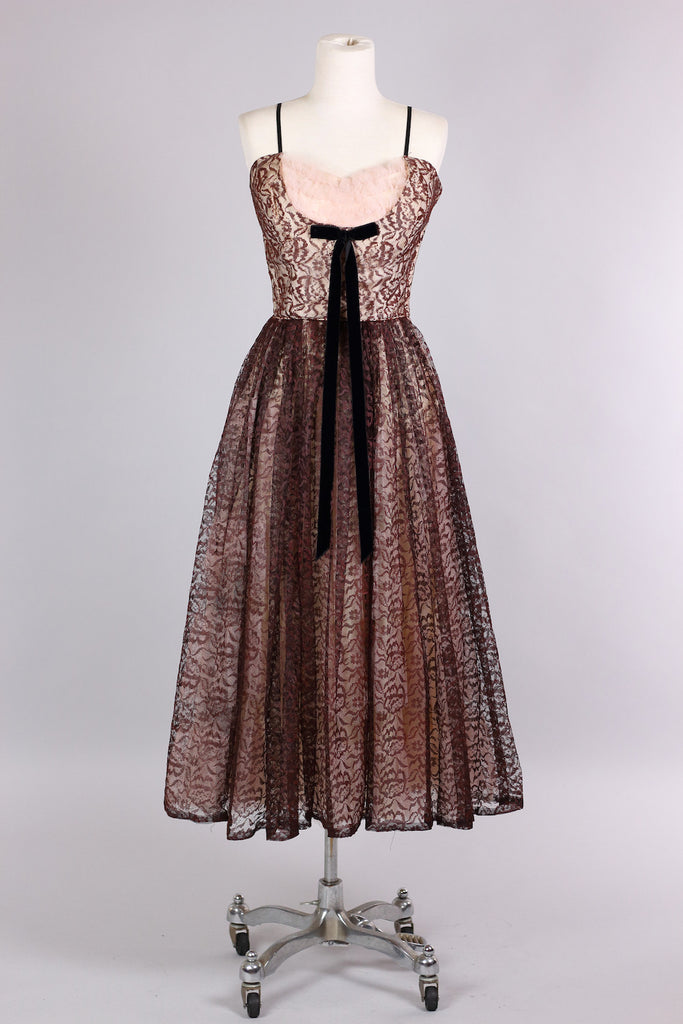 1950s Tulle and Lace Hostess Party Dress