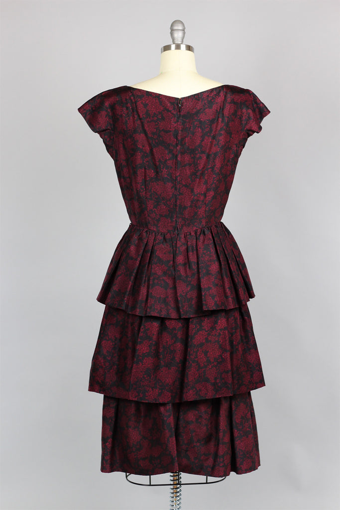 1950s Tiered Ruffle Silk Dress in Red Wine