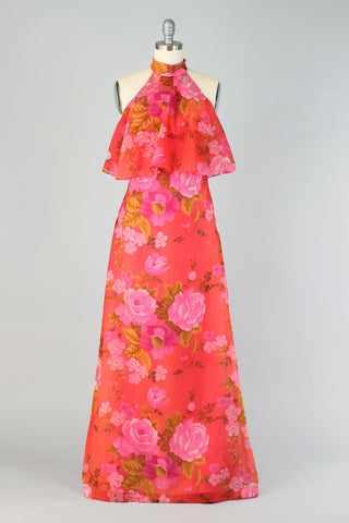1960s Coral Pink Floral Hawaiian Chiffon Halter Dress