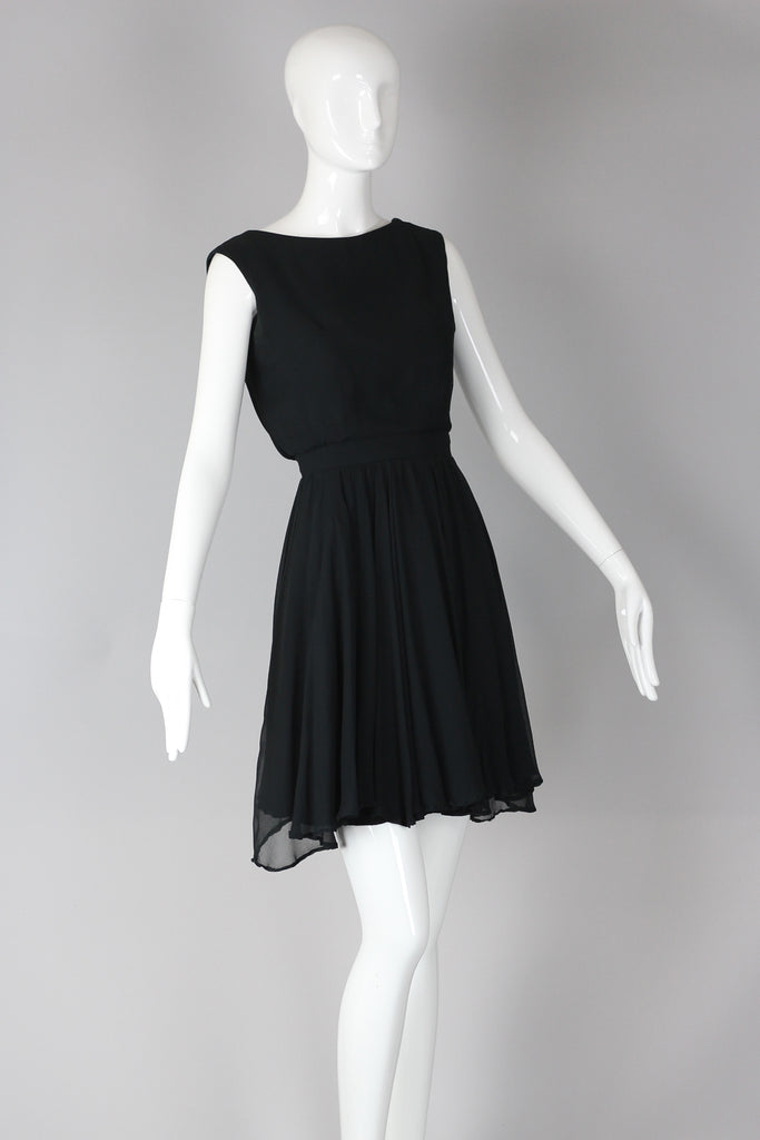 1960s Audrey Hepburn Style Black Chiffon Cocktail Dress